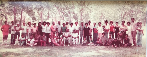 THE ORIGINAL BROWN-EWING FAMILY REUNION - KANSAS CITY, MO 1976. Anna (Ewing) Brown is the intersection/cornerstone of th