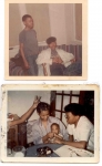 Top: Stevie Brown with older brother Aaron Michael Brown. Bottom: Marguerite with Stevie feeding Aaron ('JR') Brown, J