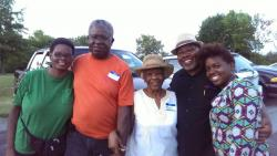 "L-R: Toni (Rainey) Williams, Tony, Marguerite, Aaron ""Mike"", and Asia (daughter of Ayana)."